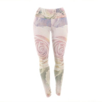 """Suzanne Carter """"Faded Beauty"""" Blush Floral Yoga Leggings"""
