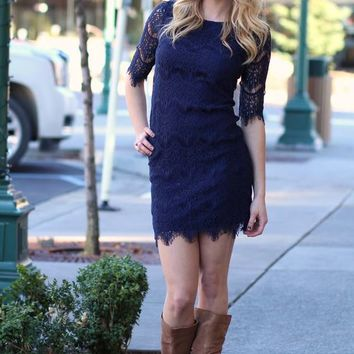 Dreaming Of Lace Navy Dress