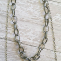 Double Chain Necklace / Multi Strand Jewelry / Thick Chain Necklace / Minimalist Jewelry / Thick and Thin Chains / Gradient Chain Necklace