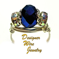 DWJ0449 Gorgeous Metallic Blue Faceted Czech Crystal Silver Wire Wrap Ring All Sizes