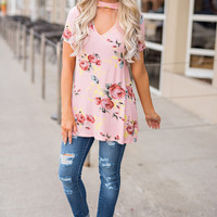 Spring Dream Choker Detail Floral Top (Peach)