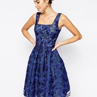 Chi Chi London Allover Lace Full Prom Skater Dress With Square Neck