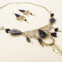 Silver Tone Sodalite Statement Necklace Earrings
