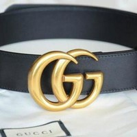 Gucci Fashion Women Men Double G Smooth Buckle Leather Belt I