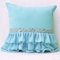 Sky blue ruffled decorative pillow with sequins - Light blue cushion cover - Gift pillows for Christmas,wedding - 16X16  Decorative Pillowa