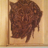 Wolf Dream Catcher, Carved Wood Wolf, Native American Wall Art Plaque