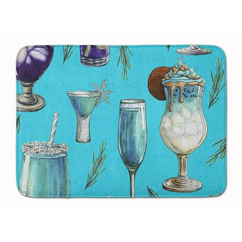 Drinks and Cocktails Blue Machine Washable Memory Foam Mat BB5203RUG