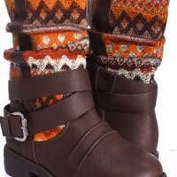BROWN FAUX LEATHER KNIT SOUTHWESTERN PRINT BUCKLE MID CALF BOOTS