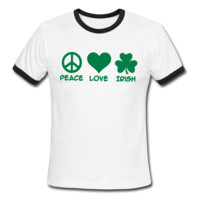 Peace Love Irish Men's Ringer T-Shirt - Men's Ringer Custom Tshirts