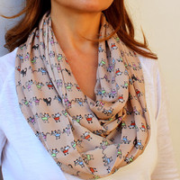 FREE SHIPPING Cat Printed Beige Infinity Scarf Eternity Scarf Urban Outfit Loop Circle Scarf 4 Seasons Scarf