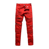Man Follow Fashion Style Extensible Designer Ripped Jeans