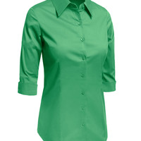LE3NO Womens Plus Size 3/4-Sleeve Easy Care Shirt