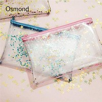 Osmond Clear PVC Women Makeup Bag Transparent Cosmetic Bags Travel Stationery Pouch Hologram Laser Cosmetics Cases For Lady
