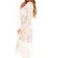 White Floral Lace Mesh Plunging Knotted Maxi Swimsuit Sexy Cover Up