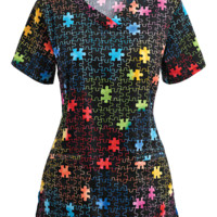 Trust Your Journey Rainbow Puzzle Print Scrub Top | Cotton Scrubs