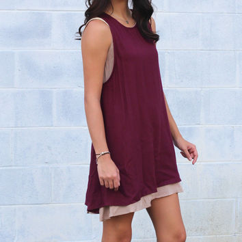 Just Strappy Woven Tank Dress {Wine}