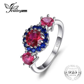 JewelryPalace Fashion 2.5ct Round Created Red Ruby & Blue Spinel 3 Stone Ring 925 Sterling Silver Brand Fine Jewelry New Arrival