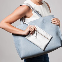 Reversible Leather Tote in Pebble Blue
