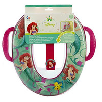 Disney The Little Mermaid Soft Potty Seat - Fits Most Standard and Elongated Toilet Seats - Includes Removable Cushion for Easy Cleaning and Ariel Potty Hook for Convenient Storage!