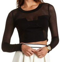 Black Long Sleeve Mesh Cut-Out Crop Top by Charlotte Russe