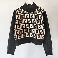 Fendi New fashion more letter print couple long sleeve top sweater Black