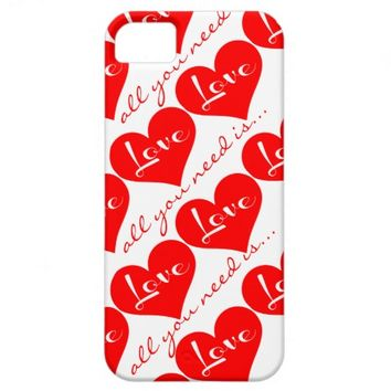 Red Hearts on White, All you need is Love iPhone5