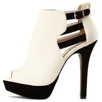 Strappy Cut-Out Peep Toe Booties by Charlotte Russe - Stone
