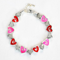 Wild At Heart Bracelet, Pink and Red Hearts, Once Of A Kind, Handmade