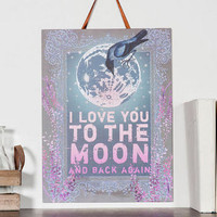 LOVE YOU TO THE MOON MEDIUM WALL SIGN