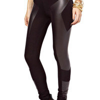 Black Faux Leather Textured Leggings