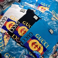 """""""Gucci"""" Women Fashion Letter Print Planet Sequin Embroidery Pattern Short Sleeve Casual T-shirt Top Tee"""