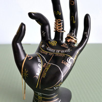 Palmistry Jewelry Display - Hand-Painted Ring Holder, Jewelry Storage, Dresser Decoration. Gold / Silver / Rose Gold.