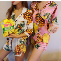 Fashion cute pineapple print top and shorts two piece Pajamas home suit