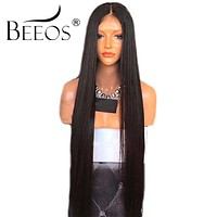 BEEOS Glueless Lace Front Human Hair Wigs Straight With Baby Hair Pre Plucked Remy Front Lace Wigs Brazilian For Black Women