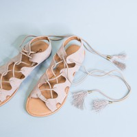 Athena Lace Up Sandal, Taupe
