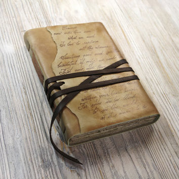 Custom Text Leather Journal, Personalized Script Notebook, Vintage Style Diary in Brown Cover and Old Aged Paper