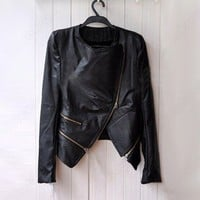 Fashion Korea Women Lady Cool PU Leather Zip Slim Jacket Coat Outerwear Black