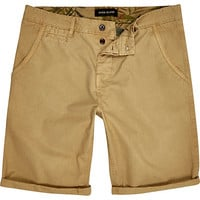 River Island MensTan slim chino shorts