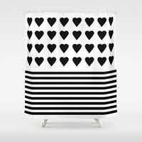 Heart Stripes Black on White Shower Curtain by Project M