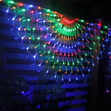 260 LED Waterproof Indoor Outdoor Peacock Net String Lights Colorful Fairy Light Lamp For Christmas Wedding Party Festival Decoration with Controller EU Plug (Size: 420g, Color: Multicolor) = 1946727172