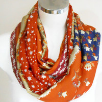 Infinity Scarf, Scarf Orange, Orange Infinity pattern, Striped Scarves, Tube Scarves, Women's Accessories, mother gift, Mother's Day gift