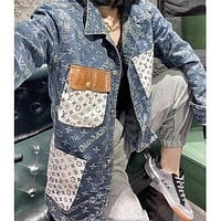 Louis Vuitton LV All-match mid-length stitching full-length printed long-sleeved denim jacket loose