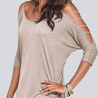Grey Cold Shoulder T-shirt with Strappy Detail
