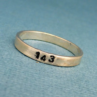 1 4 3 (I Love You) -  A Hand Stamped SOLID (not soldered) Sterling Silver Skinny Ring