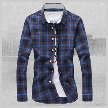 Men's Casual Large Size Plaid Shirt Cotton Long Sleeve Shirt