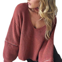Loose Open Zipper Halter Knitted Sweater 4 Color Women Sweater Sexy V-neck Long Sleeve Pull Autumn Winter Femme Pullovers GV356