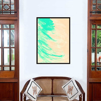 Teal Abstract painting Wall decor acrylic art print large small decal contemporary art gift her poster deco artwork neutreal pastel color