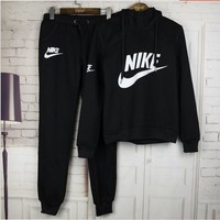 """NIKE"" Trending Women Letter Casual Print Hoodie Top Sweater Pants Sweatpants Set Two-Piece Sportswear Black I"