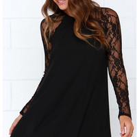 Black Lace Stitching Chiffon Long Sleeve Dress
