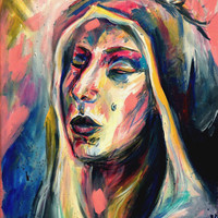 DISCOUNT -25% - An Original Acrylic Colourful Impressionistic Portrait Painting on Canvas by Kelli Gedvil! 40 x 60 cm (15,7 x 23,6 inches)
